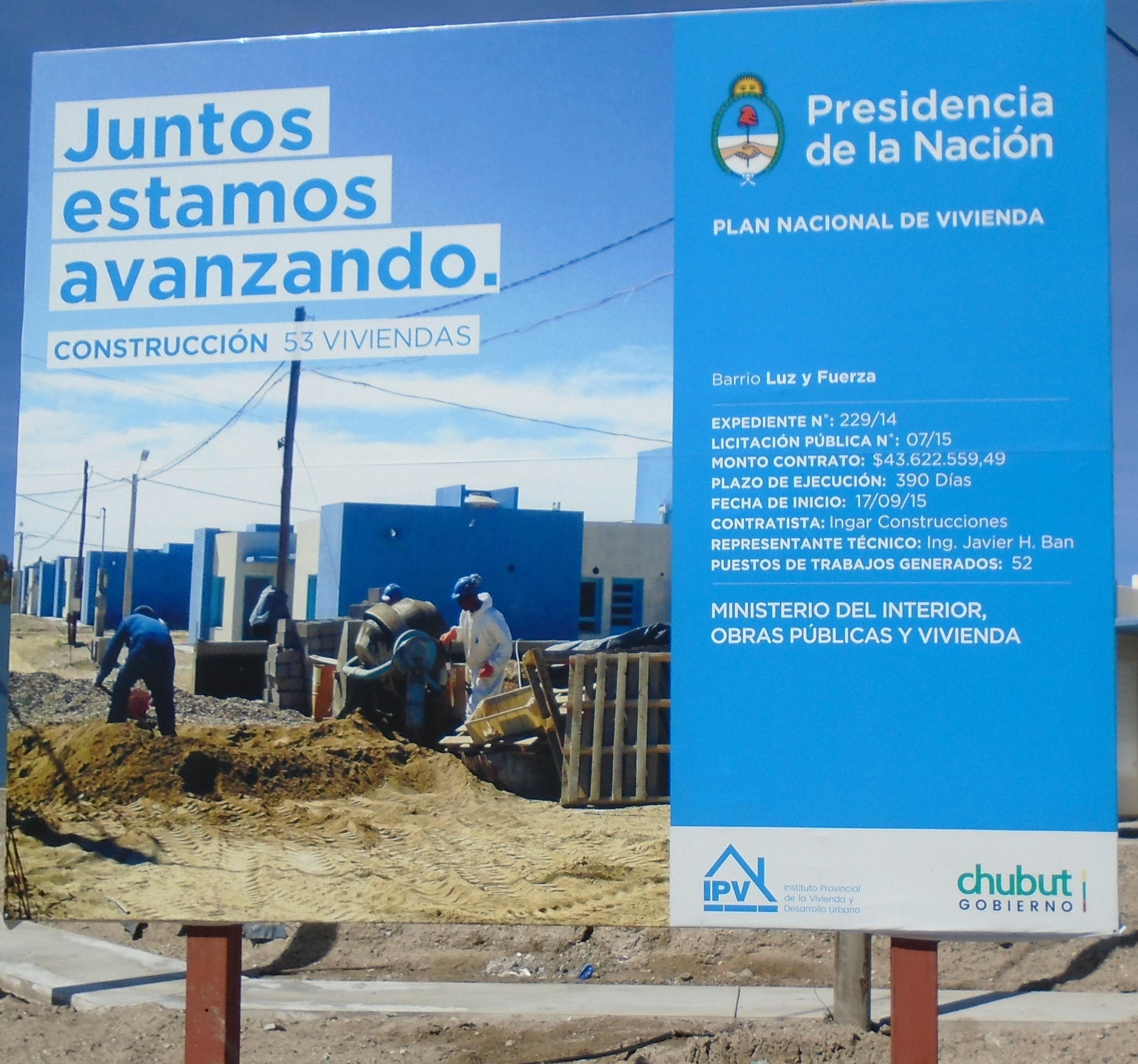 Hoy Das Neves y Sastre entregan viviendas en Madryn