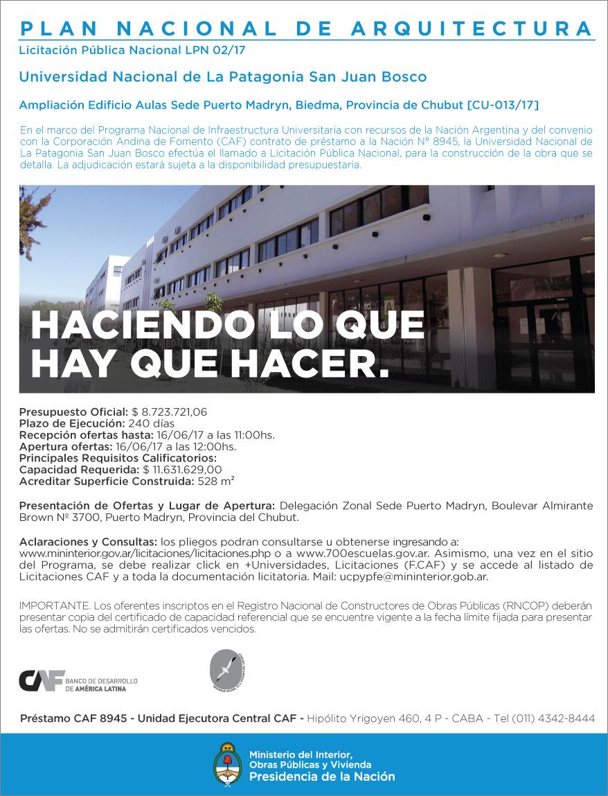 Licitación Universidad Nacional de La Patagonia San Juan Bosco