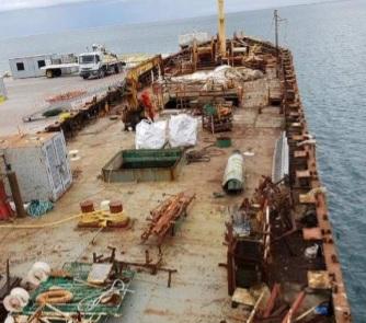 Finalizan los trabajos locales para poder retirar y hundir definitivamente el buque potero chino