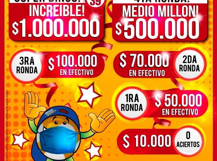ESTE DOMINGO EL TELEBINGO CHUBUTENSE PONE 1.800.000 PESOS EN JUEGO